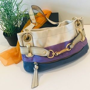 B. Makowsky Purse Hand Bag Colorblock Leather